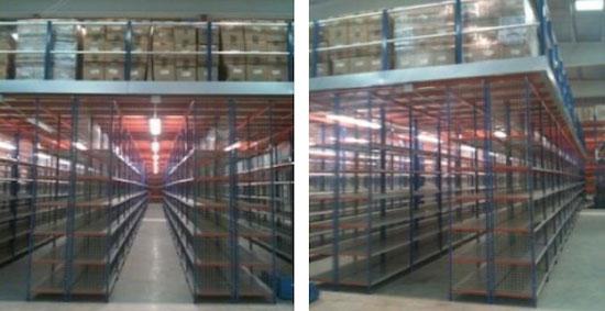 estanterías industriales entreplanta sobre estantería