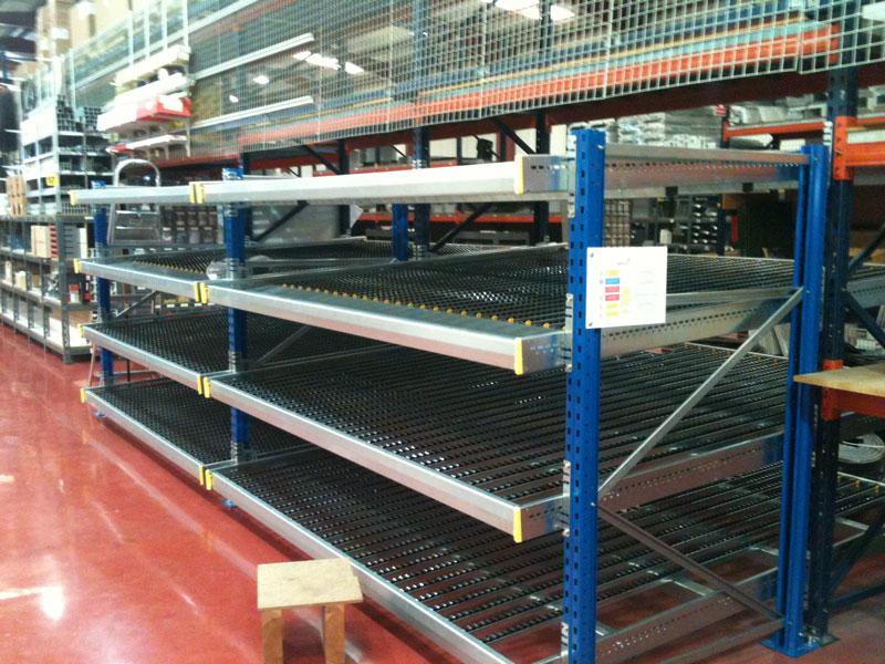 estanterías metálicas de carga manual dinámica para cajas