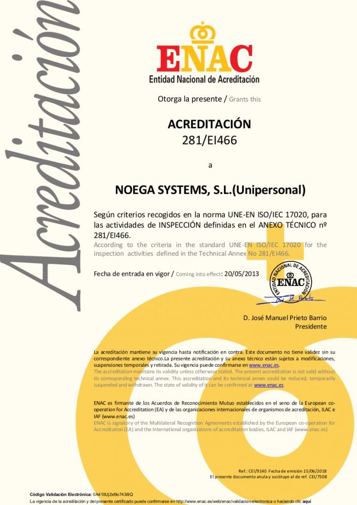 Certificado ENAC 2018