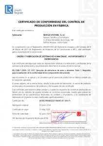 Certificado EN 1090 marcado CE Autoportantes y entreplantas